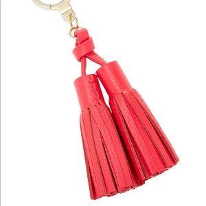 Pink leather tassel key chain